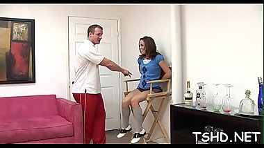 Mature lad shafting juicy holes of schoolgirl with his jock