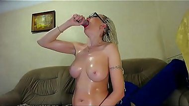 deepthroat pro blonde in hot lingerie with oiled tits