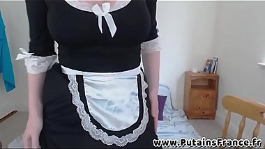 French maid with big boobs JOI and masturbation