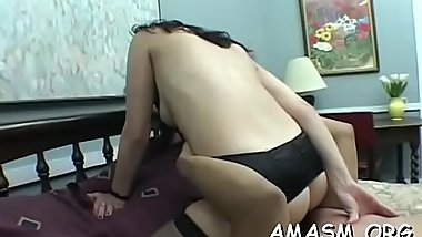 Pretty females enjoying lesbian smothering action