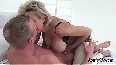 Adulterous british mature lady sonia shows her oversized puppies