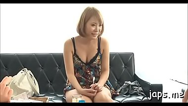 Stunning asian babe gets down and gives oral job to eat jizz