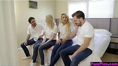 Fucked up family orgy ends with double creampie