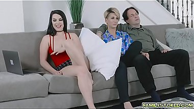 Horny Raven whip out stepdad'_s cock