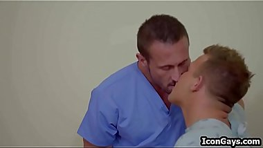 Doctor gay daddy and twink patient fucking