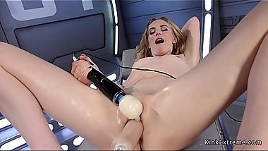 Squirting blonde in socks fucks machine
