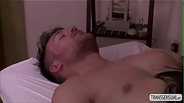 Sexy T-girl Foxxy let masseuse fucks her in doggystyle
