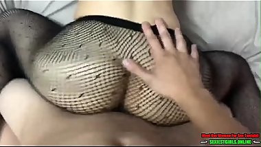 Skinny but sexy babe in fishnets fucked hard from behind