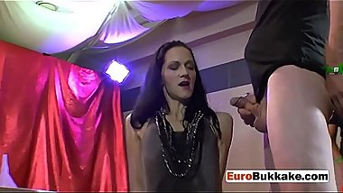 Blonde and brunette are drilled and pissed on by horny men