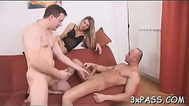 Nasty whore gets double penetrated by two cute bi-sexual guys