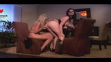 Two Hot Lesbian Babes Masturbating Together On The Couch. www.glamoursex.tk