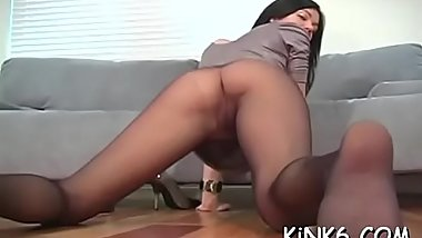 Babe in transparent tights discloses trimmed cum-hole and nice feet