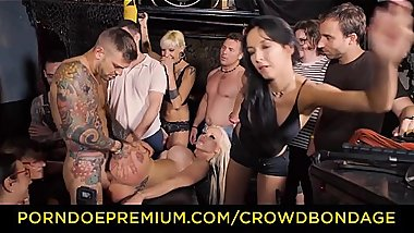 CROWD BONDAGE - Busty Barbie Sins enjoys torture and rough sex