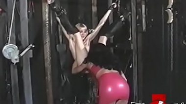 Tender dyke Tammi Ann bound and whipped by babe femdom