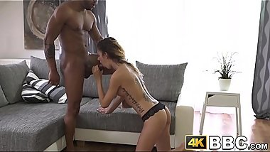 Skinny chick fucked senseless in big cock interracial
