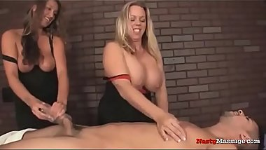 NastyMassage - Busty masseuses giving handjobs