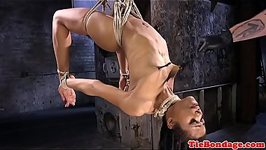 Restrained ebony punished and fingered