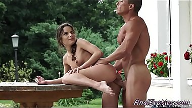Buttfucking european beauty gets cum on ass