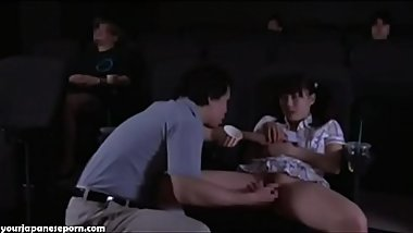 Cuming inside petite teen in movie theater