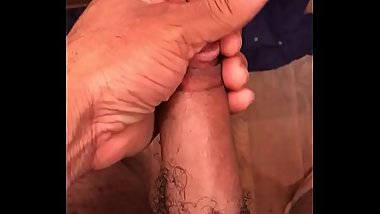 Showing off and stroking dick