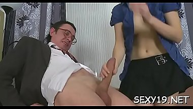 Horny elderly teacher gives young babe a vigorous drilling
