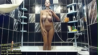 Blonde Milf shows her huge boobs in the shower - live at link