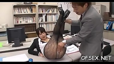Japanese babe with irresistable ass gets a couple of hard dicks