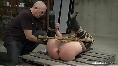 Tied babe gets the double dildo punishment she deserves