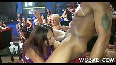 Horny darlings are deligthing stud with juicy fellatio