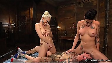 Tranny and hot blonde fucks inked guy