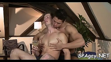 Agreeable fellow is delighting twink with wild blowjobs