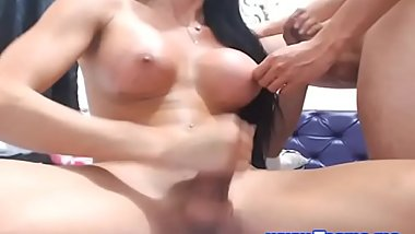 Busty Tgirl Jerks and Cum While Sucking her BF