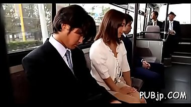Playgirl dozes off and gets completely used in public transport