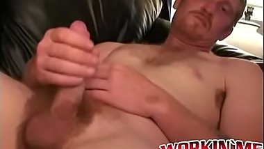 Hairy guy wastes no time jerking off and shooting jizz