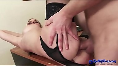 Slim milf boss makes her employee fuck her hard