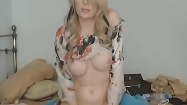 Huge Blonde Tranny Breast Jerking her Cock