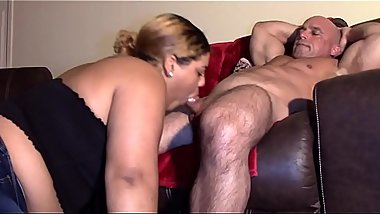 Daughter Sucks Daddy&#039_s Dick (Interracial)