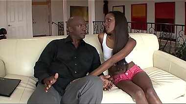 Ebony babe Jayna Lynn with small tits gets fucked and jizzed by a black cock