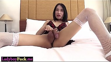 Ladyboy shemale felt a toy and hard cock in her asshole