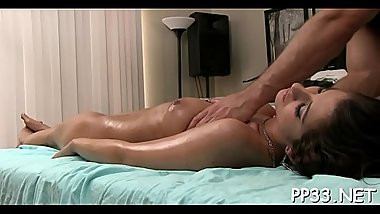 Massaging a wild girl with massage in advance of blowjob