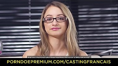 CASTING FRANCAIS &ndash_ Sweet blonde with glasses pounded in her first porn scene