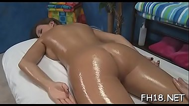 Hot 18 year old brunette floozy gets screwed hard by her massage therapist!