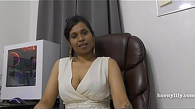 Mommy'_s Indian friend HornyLily flirts and pees on her panties for you pov