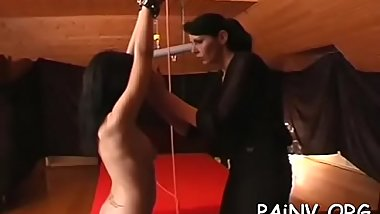 Slut gets a nipple torment session while being restrained