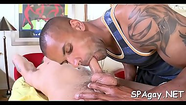 Bushy dude gets a lusty anal spooning from masseur