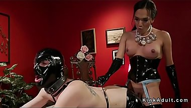 Tranny anal fucks slave with gimp mask