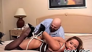Hot whore gets bounded and manhandled by a large dude