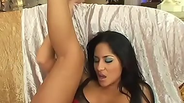 Hot Latina princess Jenaveve Jollee gets fucked by big cock on royal sofa