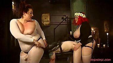 April Mimosa and her fat friend are making their slave boy horny