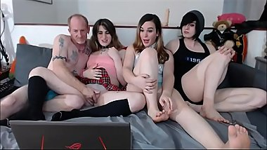 Older Dude Having Fun With 3 Trannies